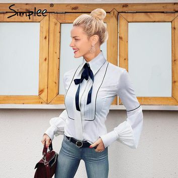 Elegant puff sleeve white blouse bow blouse Slim tops