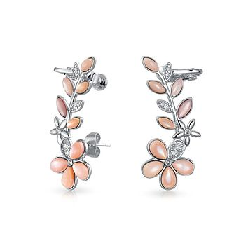 Pink Mother Flower Crawler Cartilage Earrings Clip Back Silver Plated