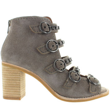 Jeffrey Campbell Bess - Taupe Suede Studded Buckle Strap Sandal Bootie