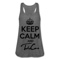 Womens Keep Calm And Take Care Drake Tank Top-Heather Gray