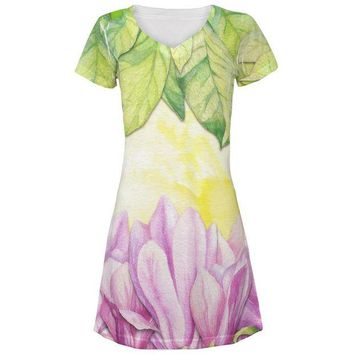 DCCKU3R Mardi Gras French Quarter Magnolias at Sunrise All Over Juniors Beach Cover-Up Dress