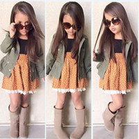 NEW Baby Kids Girls Sleeveless Dress + Long Sleeve Coat Tops Outfits Sets 2-7Y