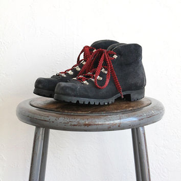 Vintage 80s Black Suede Leather Hiking Boots // Women's Lace Up Ankle Boots Sz 6.5