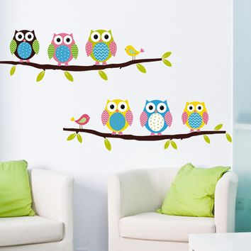 Cartoon Children's Room Bedroom Walls Painted Decorative Stickers Cute Owl Animal Wall Stickers