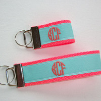mini FINGER Key FOB / KeyChain / Wristlet  - initial monogram circle aqua blue on neon coral -  custom