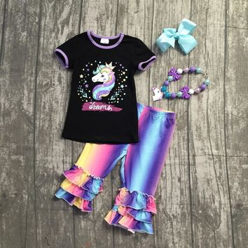 new 2018 Summer outfit black dreams unicorn short sleeve baby girls ruffles boutique clothing capris with matching accessories