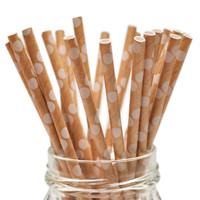 Queen and Co Stylish Stix: 25 Biodegradable Kraft Paper Straws with White Polka Dots (Food Crafts, Party Packs, ETC.)