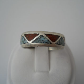 Sterling Silver 925 Coral Turquoise Inlay Ring Alternating Triangle Eternity Band Size 11