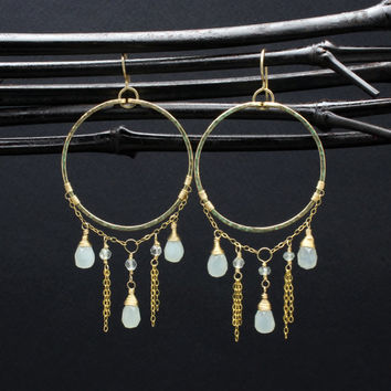 Pale Green Jade Large & Long Gold dangle Chandelier Hoop Earrings/Gold Fill Chandelier Earrings/Large Statement Earrings/Pale Green Earrings