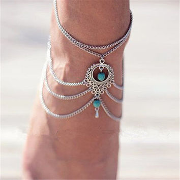 New Boho Beach Beads Tassel Chain Anklet Barefoot Sandals Foot Jewelry