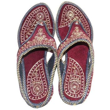 DCCK2JE Rajasthani !! Embroidered Heel Wedges Ethnic Fashion Woman Sandal, Slippers