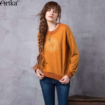 Artka Women's Spring New Round Neck Drop Shoulder Pullover Jumpers Boho Embroidery Loose Casual Long Sleeve Hoodies VA10367Q