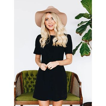 Lovely Shift Dress with Invisible Back Zipper - Black