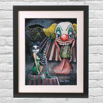 Gothic Decor - Funhouse Art Print - Psycho Carnival Clown Poster - Rockabilly Pin Up Art Wall decor