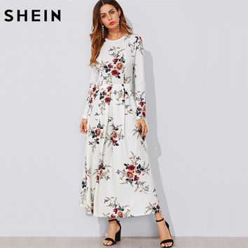 Flower Print Box Pleated A Line Dress Casual Women Dress White Long Sleeve Floral Elegant Maxi Dress