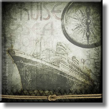Vintage Cruise Ship and Compass Picture on Stretched Canvas, Wall Art Décor, Ready to Hang