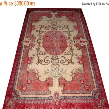 ON SALE Red Bordur Pink Medallion Turkish Vintage Rug With French Design 6'9'' x 4'1'' Free Shipping