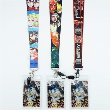 Cool Attack on Titan Japan Anime  Lanyards Neck Strap ID Card Mobile Phone Strap USB Badge Holder Rope Key Chain Cosplay Gift Otaku AT_90_11