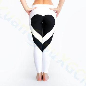 80pcs sport Gym Clothing running hip pants women heart leggings Elastic Yoga Outfits Fitness Workout pants elastic tights