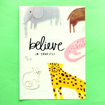 "A4 Elephant Leopard Print ""Believe in Yourself"" Quote Plastic Clear Folder"