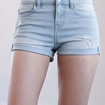 Bullhead Denim Co. Zyno Blue Ripped Mid Rise Super Stretch Denim Shorts at PacSun.com