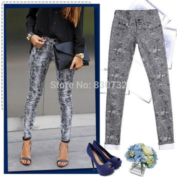 1898 New 2016 Europe And America Fashion Candy Colors Women's Skinny Pants Leopard Pencil Jeans Women High Stretch Cotton Jeans