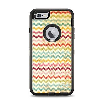 The Vintage Orange and Multi-Color Chevron Pattern V4 Apple iPhone 6 Plus Otterbox Defender Case Skin Set