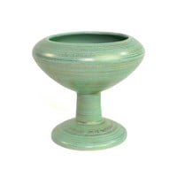 Mid-Century Compote Planter by Inarco Japan - Pedestal Ceramic Dish Glaze in Seafoam Green, Gold Brushed Stripes - Vintage Home Decor