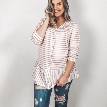 Amber Striped Peplum Top