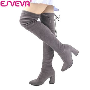 ESVEVA 2017 Women Boots Flock Over The Knee Boots Round Toe Women Boots Ladies Party Western Stretch Fabric Boots Big Size 34-43
