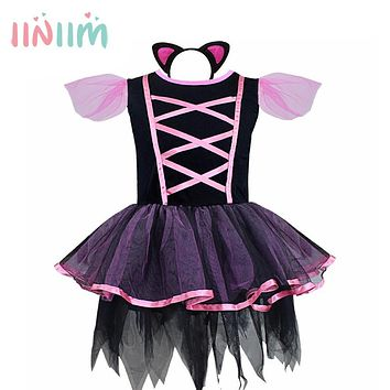 Halloween Cosplay Dress Black Cat Girls Costume Party Children Kids Performance Clothing Carnival Dance Tutu Dresses With Tail
