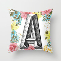 Letter A Pillow / Initial Throw Pillow Throw Pillow by Cabinet Of Pretty Things