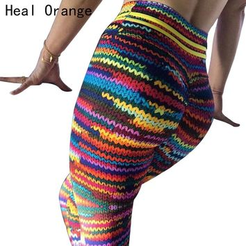 HEAL ORANGE Print Women Sport Compression Leggings Elastic Pants for Running Gym Fitness Dry Quick Workout Pants Sport Tights
