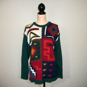 Southwestern Clothing Medium Sweater Chunky Thick Warm Sweater Green Fall Sweater Tribal Aztec Native American FREE SHIPPING Womens Clothing