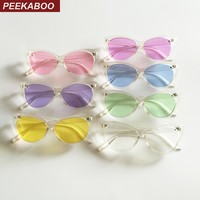 Peekaboo transparent frame sunglasses women cat eye candy color summer party cheap sun glasses for women cat eye uv400