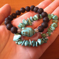 Essential Oil Diffusing Lava Stone Howlite Buddha Bracelet and Turquoise Chip Stacking Bracelet Set