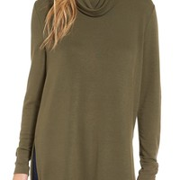 Madison & Berkeley Side Slit Turtleneck Tunic | Nordstrom