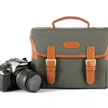 Vintage SLR Camera Bag For Canon Nikon DSLR Camera Bag Canvas Shoulder Bag 918 Green