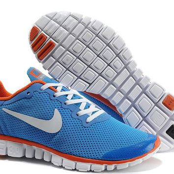 Women's Shoes - Nike Free 3.0 V2 Blue/White/Orange