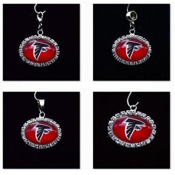 Silver Pendant Charms Rhinestone Atlanta Falcons Charms for Bracelet Necklace for Women Men Football Fans Paty Fashion 2017