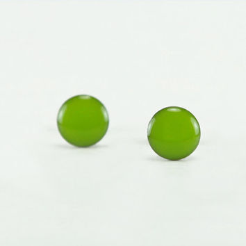 PEANUT GREEN Stud Earrings - Green Earrings - Green Ear Studs - Green Small Earring Studs - Surgical Steel Post Earrings - 4mm / 6mm / 8mm