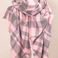 Pink and Gray Plaid Blanket Scarf