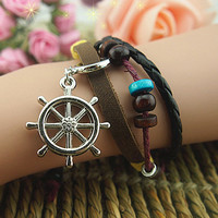 Manual Accessories The Rudder Leather Bracelet With Pirates Of The Caribbean Jewelry Fashion Bracelet Beads