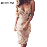 Julissa Mo 2016 Vestidos Party Dresses Elegant Sexy V Neck Vintage Sequin Bodycon Bandage Dress Mini Summer Beach Women Dresses