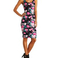 Slashed-Back Floral Print Midi Dress