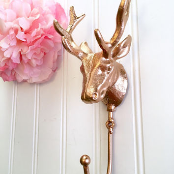 Rose Gold Stag Head Wall Hook - Deer Heads - Deer Hooks - Stocking Holders - Gold Decor - Rustic Decor