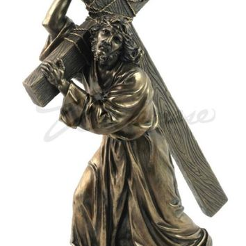Jesus Carrying the Cross on Way to Calvary Statue Bronze Finish 12H