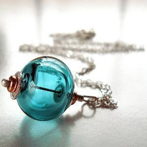 Teal Lampwork Hollow Sterling Silver Necklace by GlitzGlitter