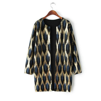 Brand New Fashion Ladies Leopard Print Gilding Middle-long Design Sweater Cardigan Womens Casual Cardigans Jacket outwear
