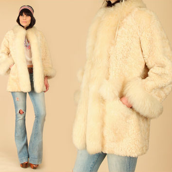ViNtAgE 50's 60's Shearling Fur Coat Hat Set //Snow Bunny// Lamb Russian Princess Jacket // HiPPiE Boho Bohemian // Penny Lane // XS Small S